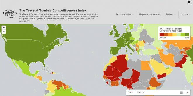 Mapa de Calor del Índice de Competitividad de Viajes y Turismo 2015