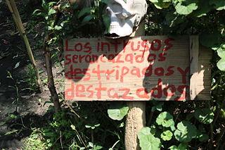 Advertencia que recibe a los visitantes de la Isla de las Muñecas