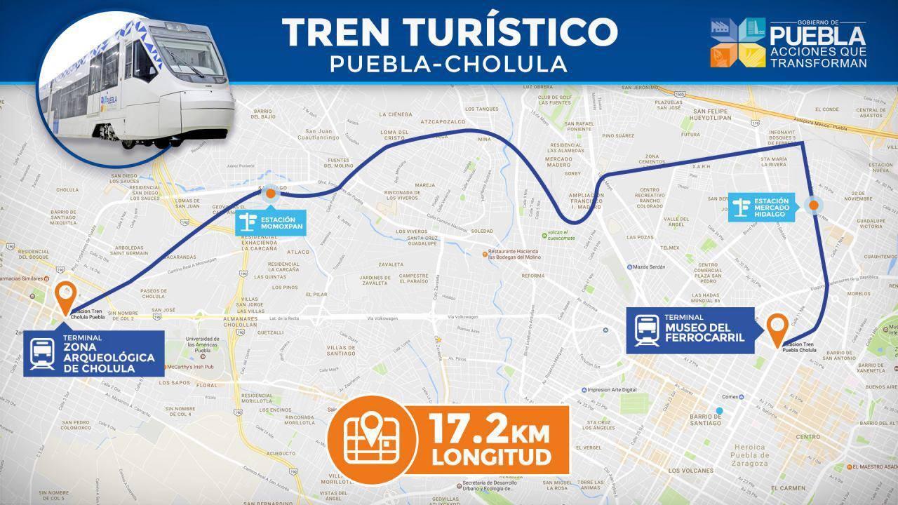 Mapa tren turístico Puebla-Cholula