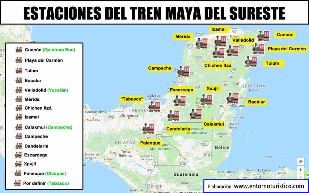 probables estaciones del tren maya