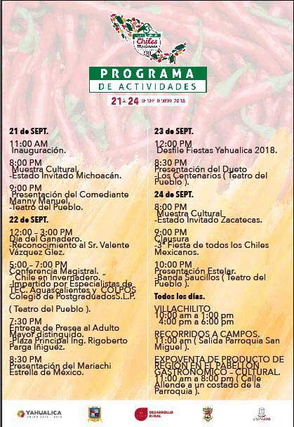 Programa 3a. Fiesta de Todos los Chiles Mexicanos en Yahualica