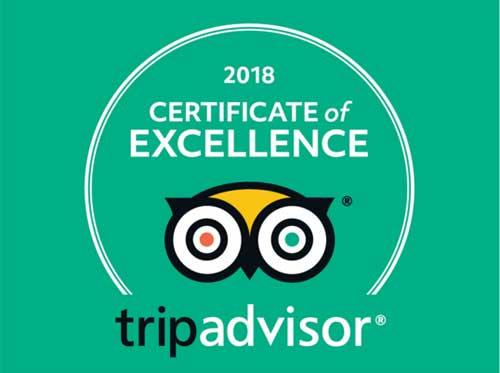 Certificado de excelencia de TripAdvisor 2018
