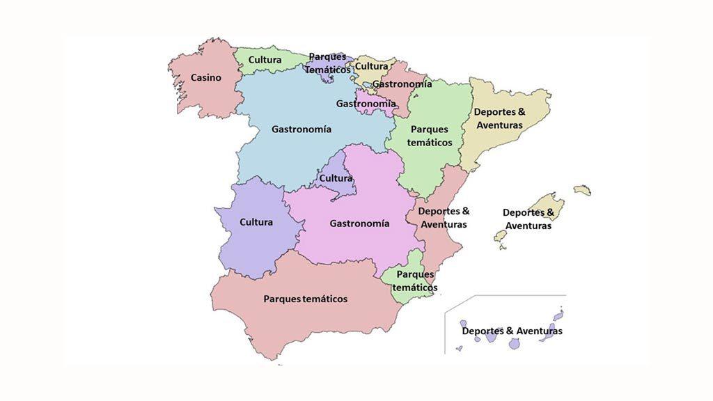 Mapa Tematico De Espana.Cuales Son Los Tipos De Turismo Favoritos De Los Espanoles Por Regiones Entorno Turistico