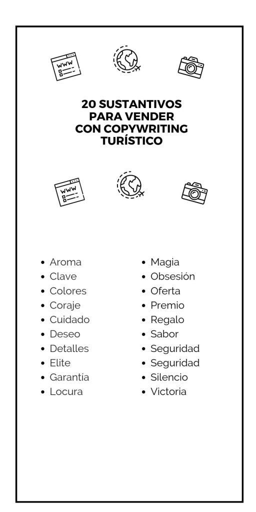 20 sustantivos para vender con copywriting turístico