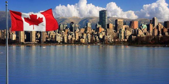Bandera y ciudad en Canadá