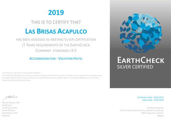 Las Brisas Acapulco 2019 Certificación EarthCheck Nivel Plata
