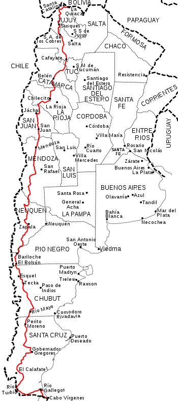 Mapa de la Ruta Nacional 40 en Argentina