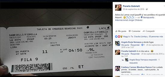 boleto de avión publicado en Facebook