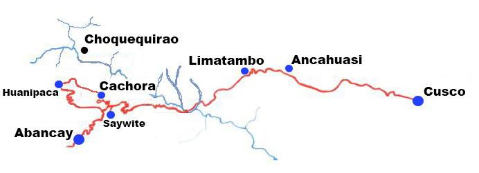 Mapa ubicación de Choquequirao