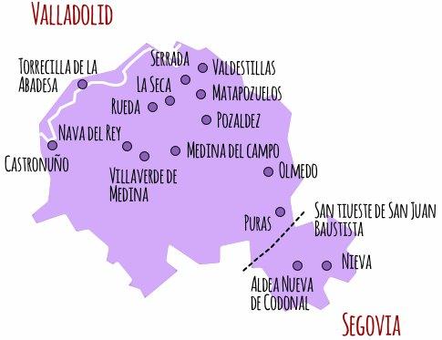 Mapa denominación de Origen Rueda