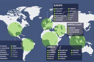 Mapa de destinos con el sello Safe Travels