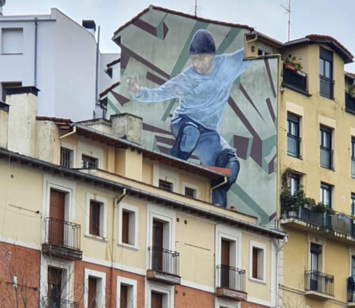 mural skater en Bilbao