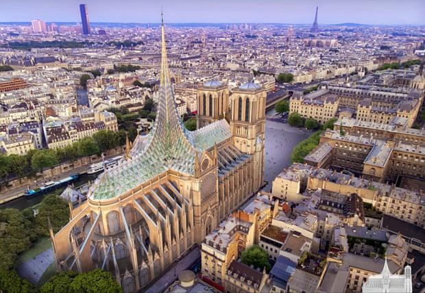Diseño futurista de la catedral de Notre Dame