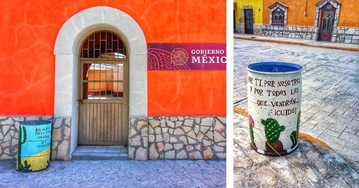 Botes de basura pintados a mano en Viesca