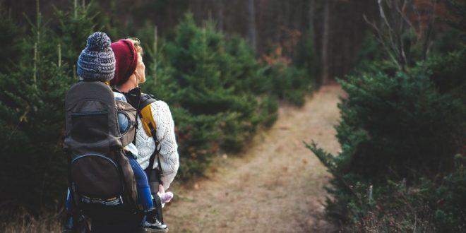 Madre e hijo por el bosque