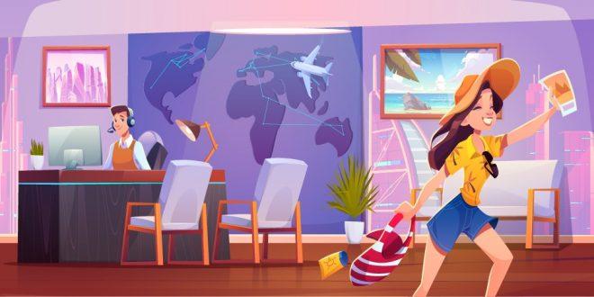 Ilustración de una agencia de viajes