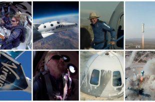 Collage de los viajes al espacio de Virgin Galactic y Blue Origin