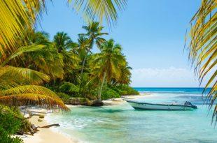 Palmeras y un bote en una isla del caribe