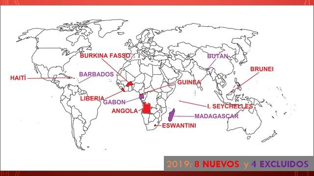 Índice de Competitividad de Viajes y Turismo 2019 países nuevos y excluidos