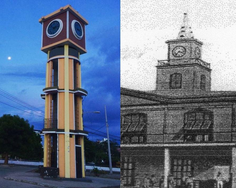 Reloj público de Manta antes y ahora