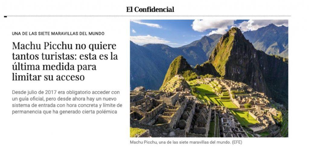 Machu Picchu no quiere tantos turistas